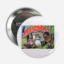 """Gnome Outside his Toadstool Cottage 2.25"""" Button"""