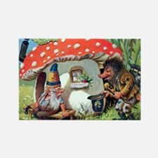 Gnome Outside his Toadstool Cottage Rectangle Magn