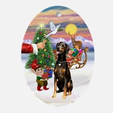 Treat for a Doberman (natural) Ornament (Oval)
