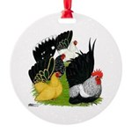 Japanese Bantam Group Round Ornament