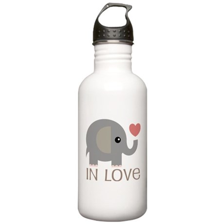 Couples In Love Elephant Stainless Water Bottle 1.