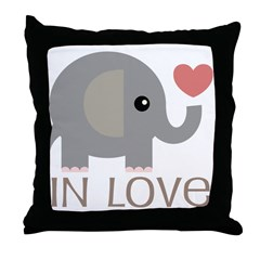 Couples In Love Elephant Throw Pillow