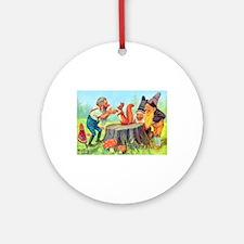 Gnomes Examine a Friendly Squirrel Ornament (Round