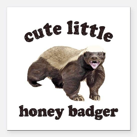 "Cute Lil Honey Badger Square Car Magnet 3"" x 3"""