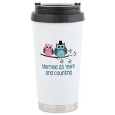 25th Anniversary Owls Travel Mug