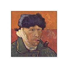 "Van Gogh Self Portrait Square Sticker 3"" x 3"""