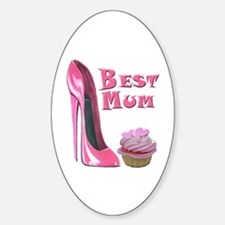 Best Mum Pink Cupcake and Stiletto Sticker (Oval)