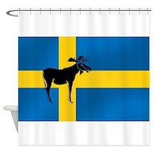 Sweden Elk / Moose Flag Shower Curtain