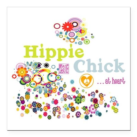 """Hippie Chick at Heart Square Car Magnet 3"""" x 3"""""""