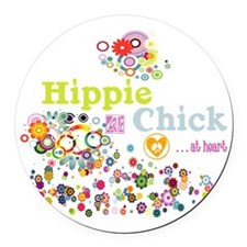 Hippie Chick at Heart Round Car Magnet
