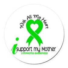 With All My Heart Lymphoma Round Car Magnet