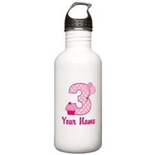3rd Birthday Pink Cupcake Sports Water Bottle