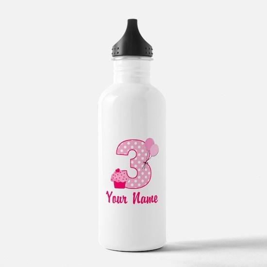 3rd Birthday Pink Cupcake Sports Water Bottle