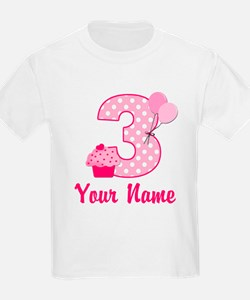 3rd Birthday Pink Cupcake T-Shirt