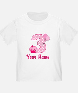 3rd Birthday Pink Cupcake T
