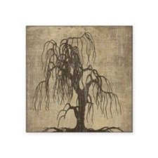 "Vintage Willow Tree Square Sticker 3"" x 3"""