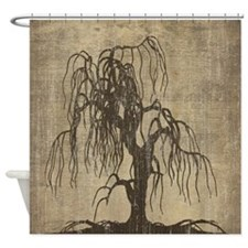 Vintage Willow Tree Shower Curtain