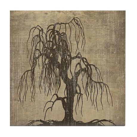 Vintage Willow Tree Tile Coaster