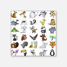 "Kid Art Animals Square Sticker 3"" x 3"""