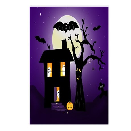 Halloween Pumpkin Haunted House Postcards (Package