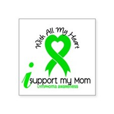 "With All My Heart Lymphoma Square Sticker 3"" x 3"""