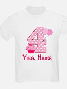 4th Birthday Pink Cupcake T-Shirt