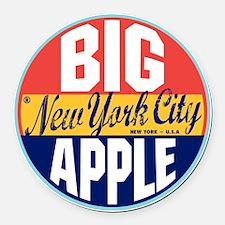 New York Vintage Label Round Car Magnet