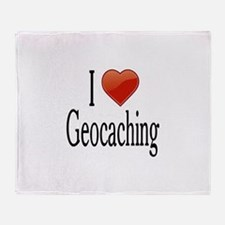 I Love Geocaching Throw Blanket
