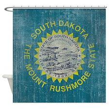 Vintage South Dakota Flag Shower Curtain