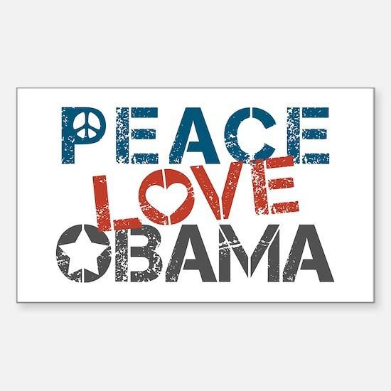Peace Love Obama Sticker (Rectangle)