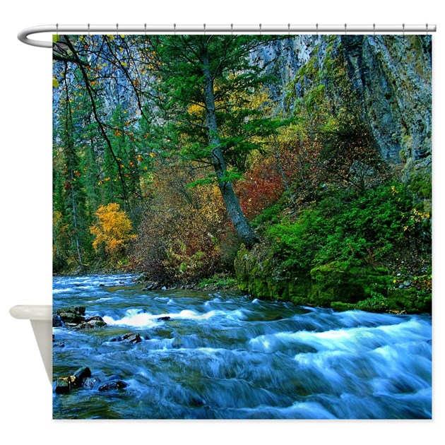 Mountain River In Fall Shower Curtain By Saltypro Shop