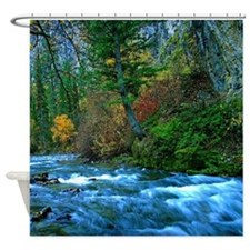 Mountain river in fall Shower Curtain