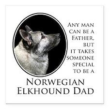 "Elkhound Dad Square Car Magnet 3"" x 3"""