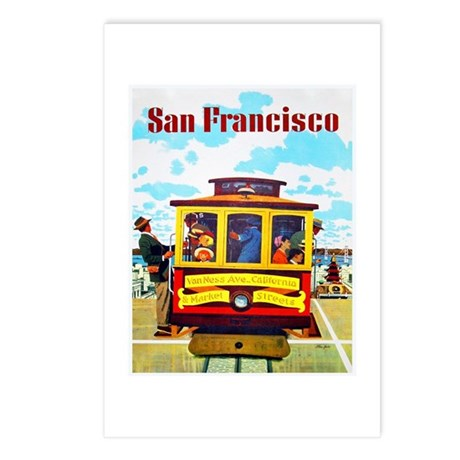 San Francisco Travel Poster 1 Postcards (Package o