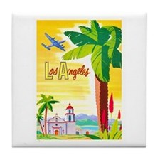 Los Angeles Travel Poster 2 Tile Coaster