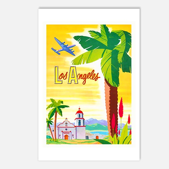 Los Angeles Travel Poster 2 Postcards (Package of