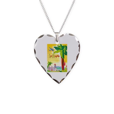Los Angeles Travel Poster 2 Necklace Heart Charm