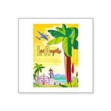 "Los Angeles Travel Poster 2 Square Sticker 3"" x 3"""