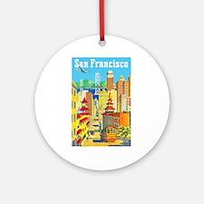 San Francisco Travel Poster 2 Ornament (Round)