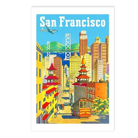 San Francisco Travel Poster 2 Postcards (Package o