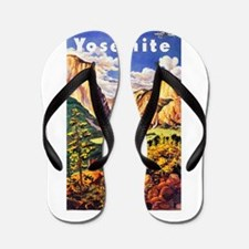 Yosemite Travel Poster 2 Flip Flops