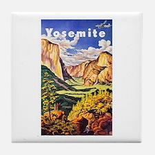 Yosemite Travel Poster 2 Tile Coaster