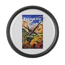 Yosemite Travel Poster 2 Large Wall Clock