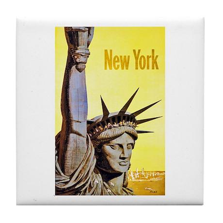 New York Travel Poster 4 Tile Coaster