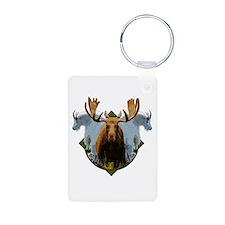 Moose and mountain goat Aluminum Photo Keychain