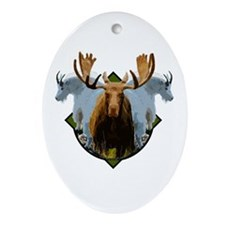 Moose,Mountain goats Ornament (Oval)