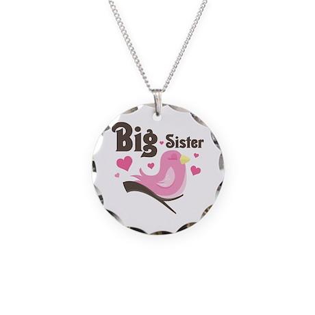 Mod Birdie Big Sister Necklace Circle Charm