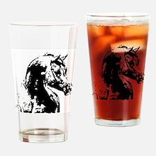 AFTM BW Arabian Horse Head 2 Drinking Glass