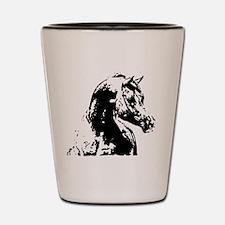 AFTM BW Arabian Horse Head 2 Shot Glass