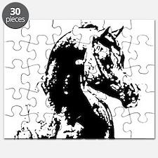 AFTM BW Arabian Horse Head 2 Puzzle